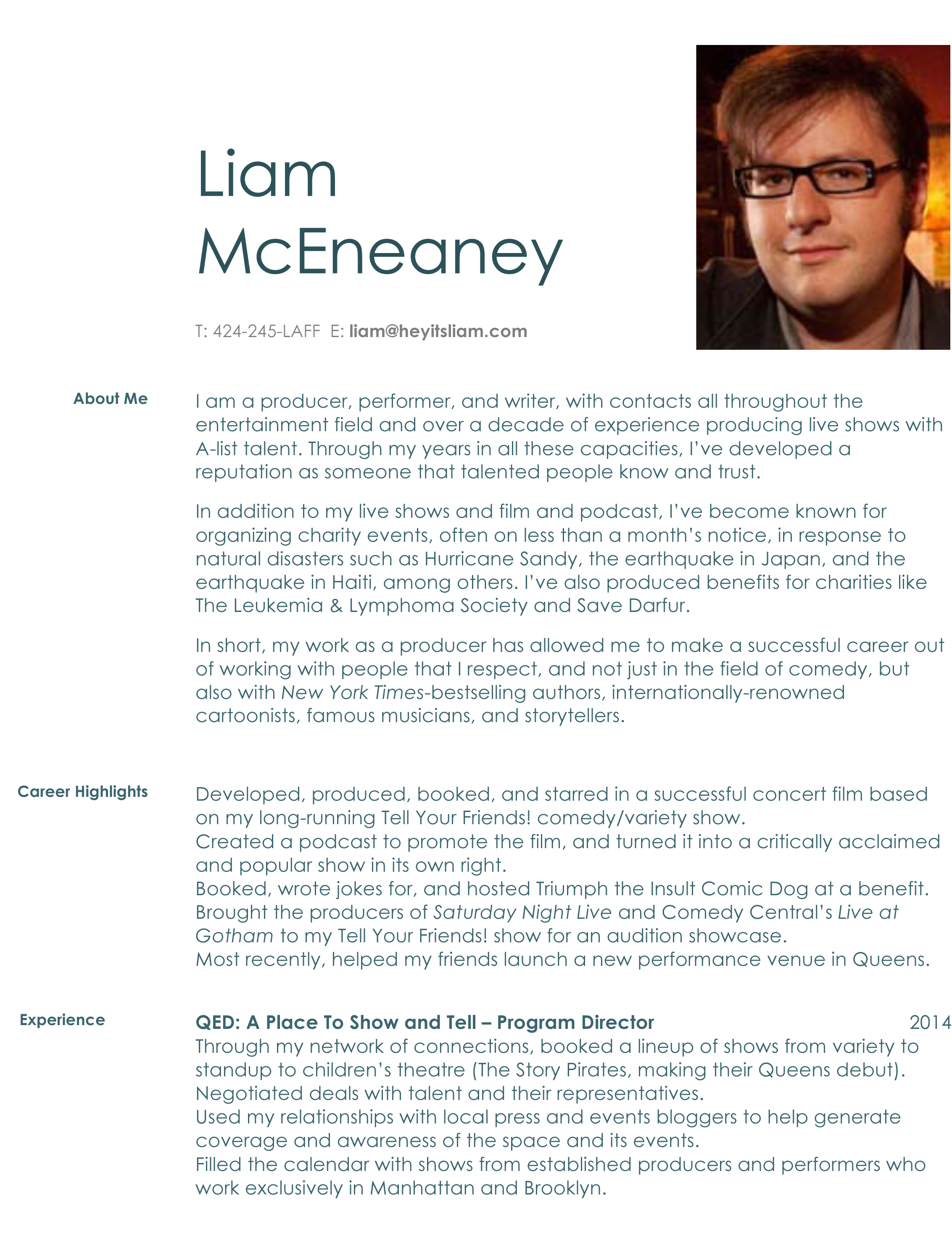 Liam McEneaney  Producer Resume